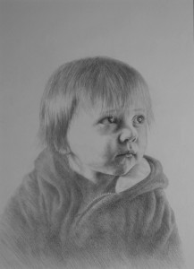 Drawing of little boy entitled Wonder