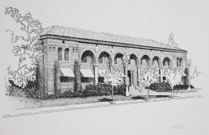 Lodi City Hall pen and ink