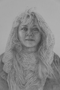 Drawing of woman in scarf entitled Wine & Chocolate